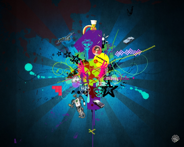 Tagged blue, colourful, Desktop wallpapers, fun, graphic design,